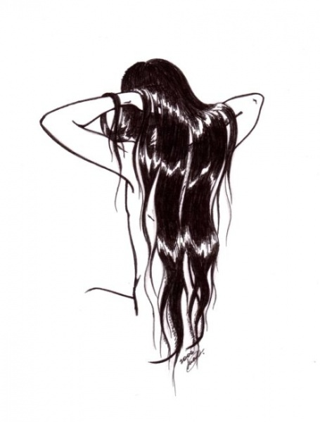 Нарисованные девушки со спины брюнетки с длинными волосами